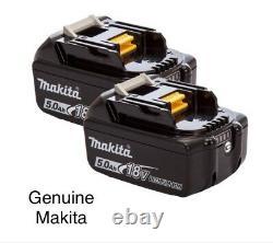 2 Genuine Makita Bl1850b 18v 5.0ah Li-ion Lxt Batteries With Charge Indicator