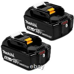 2 X Makita BL1850 18V 5.0Ah Li-Ion LXT Batteries & 4 X Battery Mounts Wall Shelf