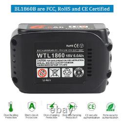2x Fit For Makita BL1860 18V 6.0AH LXT Li-ion Battery BL1830 BL1850 With Charger