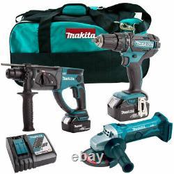 Makita 18V Li-ion 3 Piece Kit with 2 x 5.0Ah Batteries, Charger & Bag T4TKIT-63