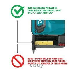 Makita Cordless Pin Nailer 18V Li-ion Reversible Hook Narrow Nose (Tool-Only)