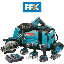 Makita DLX6017M 18v LXT 6 Piece Mixed Kit 3 x 4.0ah Li-ion