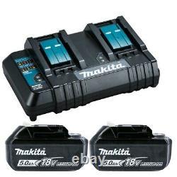 Makita Genuine BL1850 18V 5.0Ah LXT Li-Ion Battery Twin Kit + Twin Charger Kit