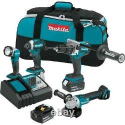 Makita Power Tool Combo Kit 18-Volt 4-Piece 5.0Ah LXT Li-Ion Brushless Cordless