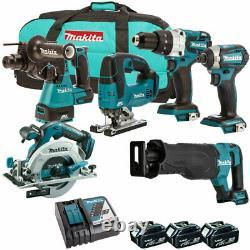 Makita 18v Lxt Li-ion 6pc Power Tool Kit Brushless 3 X Batteries 5ah T4tkit-317