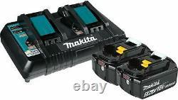 Makita Bl1850b2dc2 5.0 Ah 18v Lxt Li-ion Battery & Dual Port Charger Kit Bl1850b