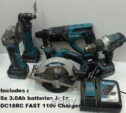 Makita De 5x3.0ah Lxt Li-ion 5pc Power Tools Dhp458 Dhr202 Bss610 Dtm50 Bga452