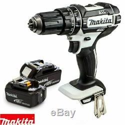 Makita Dhp482z Blanc Lxt Li-ion 18v Combi Drill Avec 2 X 3ah Batteries