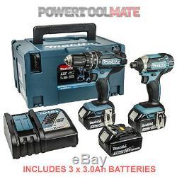 Makita Dlx2131jx1 18v Li-ion Lxt Combi Et Impact Twin 3 X Batteries 3,0 Ah
