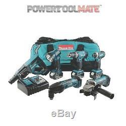 Makita Dlx6075m 18v Lxt 6 Pièce Combo Kit (3 X 4.0ah Batteries Li-ion) Dlx6075