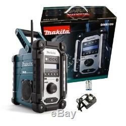 Makita Dmr109 Dab Bleu Job Site Radio Cxt 10.8v Lxt 18v Li-ion + 18v Batterie