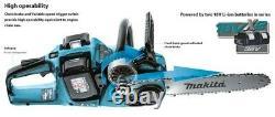 Makita Duc353rt2 Twin 18v / 36v Lxt Sans Fil 35cm Chainsaw Li-ion 2x Batteries