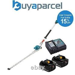 Makita Dun500w Lxt 18v Li-ion Brushless Pole Hedge Cutter Trimmer 2 X Batteries