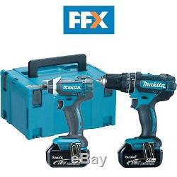 Makita Ffx Dlx2131 / 4 18v 2x 4ah Li-ion Lxt Combi Drill + Impact Pilote Double Kit